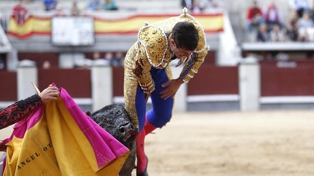 Rubén Pinar, en el momento en el que el astifino pitón se hunde en su muslo derecho
