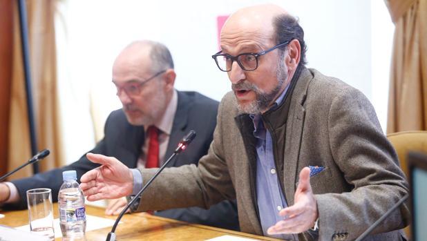 José Miguel Fernández Sastrón, presidente en funciones de la SGAE, durante la rueda de prensa para explicar las elecciones a la junta directiva de la entidad