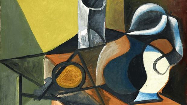 Detalle de «Bodegón con jarra, vaso y naranja» (1944), de la muestra del Museo Picasso-Málaga