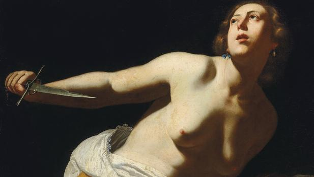 «Lucrecia», de Artemisia Gentileschi. Detalle