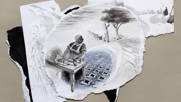 «Cocinera» (2015), tinta y rotulador sobre papel, 35x50 cm.