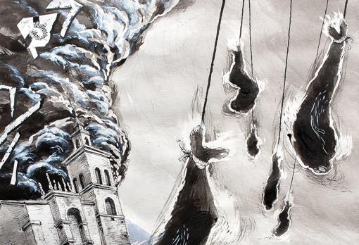 Detalle de «Iglesia y mutantes» (2014), tinta y rotulador sobre papel, 70x50 cm.