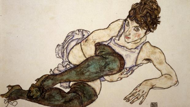 «Mujer reclinada con medias verdes», de Egon Schiele