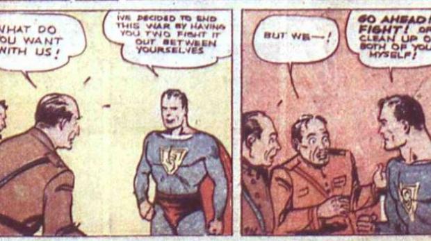Viñetas de la primera aventura de Superman en julio de 1938, publicada en «Action Comics»