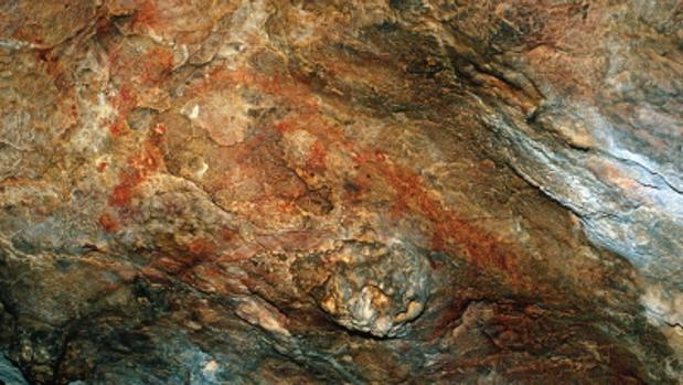 Una de las pinturas rupestres de la Cueva del Tabaco, en Camarasa (Lérida)