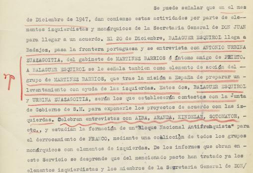 Franco subraya y comenta «ojo» al margen ante la noticia del encuentro de monárquicos e izquierdistas