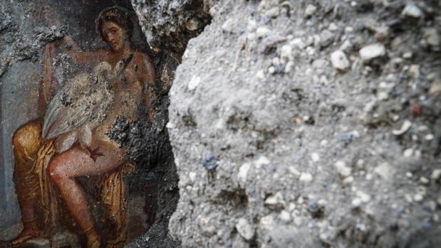 El fresco con el mito de Leda y el cisne recién descubierto en Pompeya