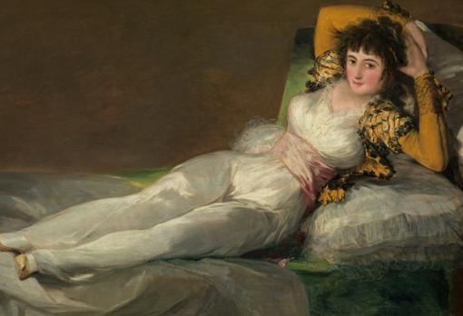 Detalle de «La Maja vestida» de Goya