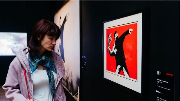 Imagen de la exposición «Banksy: Genious or Vandal?»