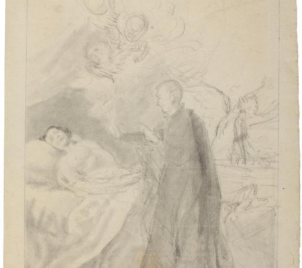 «San Francisco de Borja y el moribundo impenitente», hasta ahora atribuido a Goya. Pasa a ser de anónimo español. Detalle