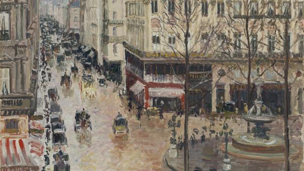 «Rue Saint-Honoré por la tarde. Efecto de lluvia», de Pissarro