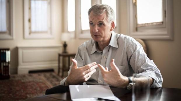 Timothy Snyder, durante la entrevista, en la Fundación Rafael del Pino, en Madrid