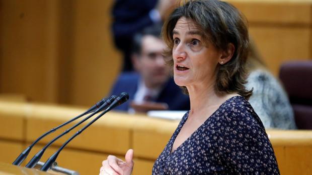 La ministra de Transición Ecológica, Teresa Ribera, este martes en el Senado