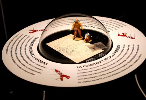 Detalle de uno de los bocetos de Hergé