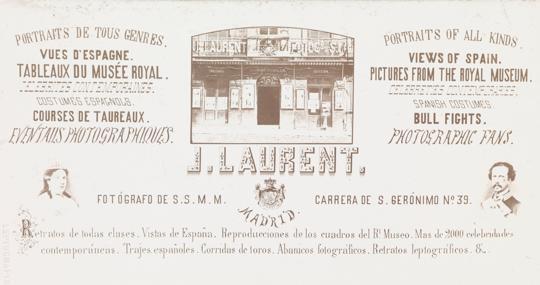 Tarjeta de visita del fotógrafo Laurent con publicidad de la empresa
