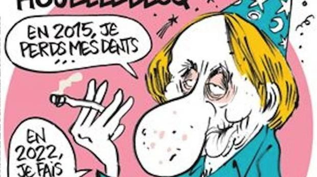 Houllebecq, en la portada de la revista satírica «Charlie Hebdo» (Detalle)