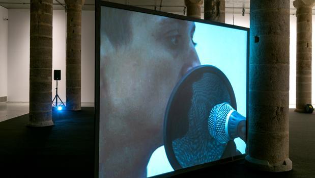 Detalle del montaje en La Panera de Lérida de «Respiración y otros sonidos»