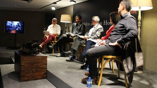 De izquierda a derecha, Plàcid García-Planas, Ricardo García Vilanova, Alfonso Armada, Olga Rodríguez y François Musseau