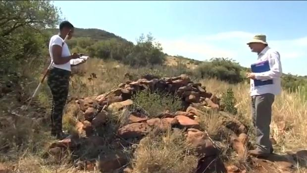 Uno de los restos de la ciudad perdida recién descubierta en Sudáfrica