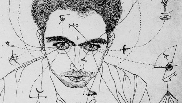 «Autorretrato» (tinta sobre papel), realizado por Tàpies en 1947