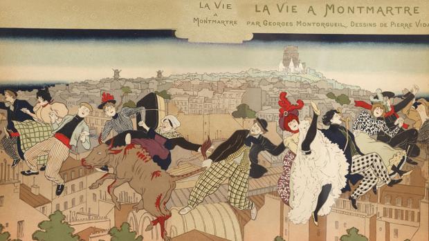 Pierre Marie Louis Vidal. Cubierta para «La Vie à Montmartre», 1897, Litografía