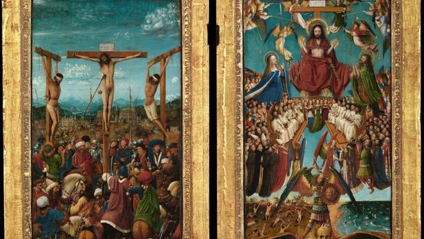 Detalle de «La crucifixión» y «El juicio final» de Jan Van Eyck
