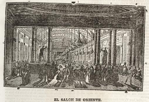 El Salón de Baile del Teatro de Oriente, en un grabado aparecido en el «Semanario Pintoresco Español»