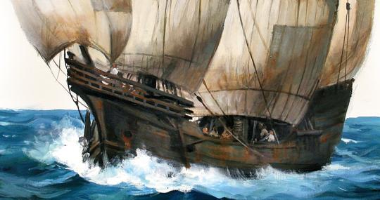 """""""Lo más peligroso fue la navegacón por el Índico"""". Detalle del boceto de la nNao Victoria de Augusto Ferrer-Dalmau"""