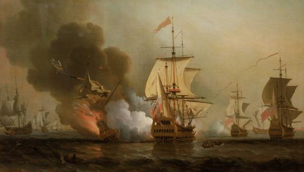Cuadro de Samuel Scott con «La acción de Wager», el hundimiento del galeón San José