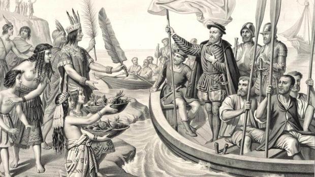 Grabado que muestra la llegada de Cortés a Tenochtitlan