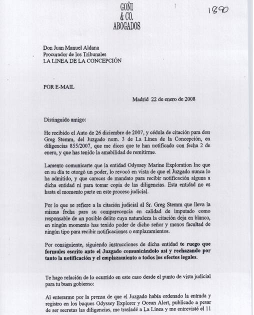 Escrito del letrado Goñi revocando al procurador