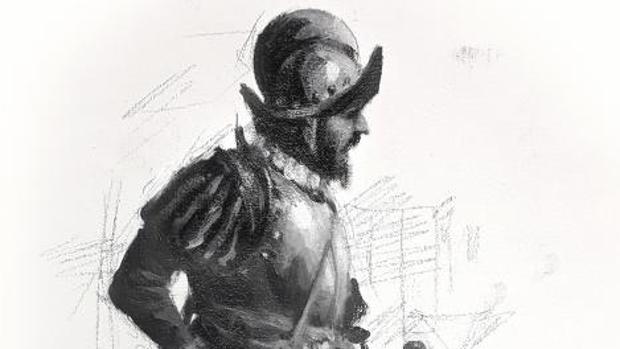 Ilustración de Hernán Cortés por Ferrer Dalmau