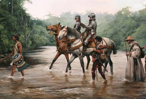 «El camino de Cortés», pintura de Augusto Ferrer Dalmau
