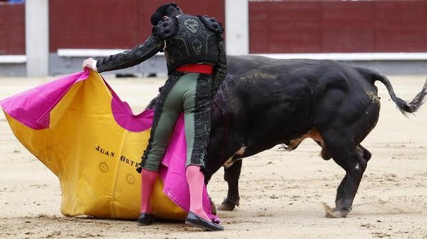 Juan Ortega, a la verónica con el segundo toro del Torero