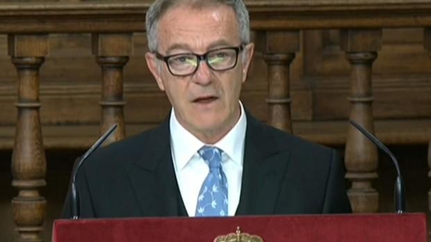 El ministro de Cultura y Deporte, José Guirao, durante su intervención en la ceremonia de entrega del premio Cervantes