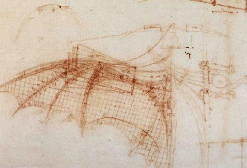 Una de las máquinas voladoras diseñadas por el genial Da Vinci