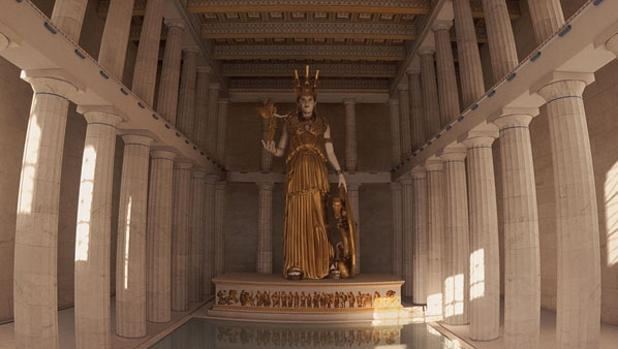 Recreación de la cella, donde se guardaba la estatua de la diosa Atenea