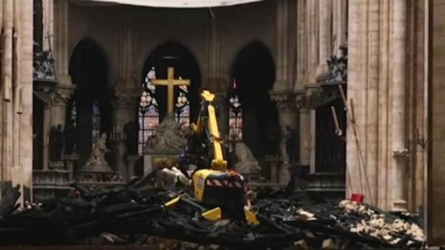 Primeras imágenes del interior de Notre Dame un mes después del incendio