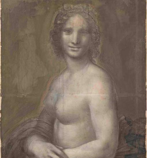La versión de la Gioconda con el torso al descubierto en blanco y negro