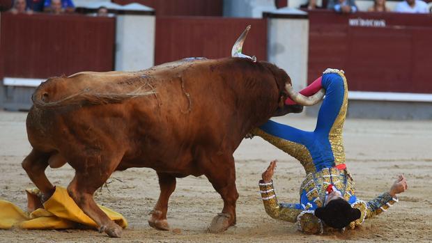 Momento en el que el cuarto toro coge al diestro colombiano Ritter