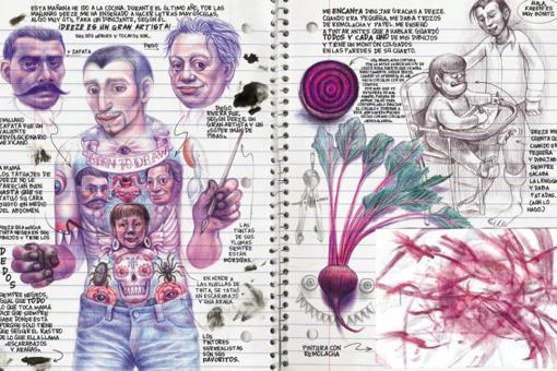 Ferris dibuja con intrincadas tramas a bolígrafo en un papel que imita a una libreta