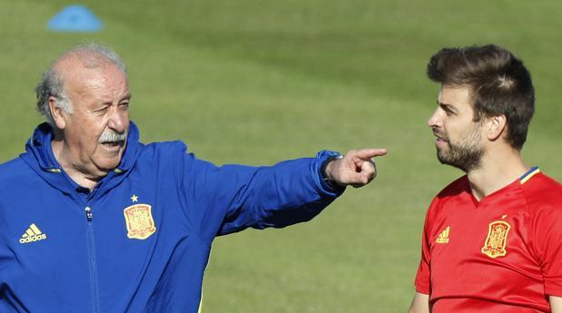 Del Bosque, en el entrenamiento del viernes de la selección española