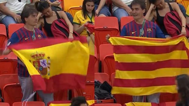 fb60790694814 Río 2016  Un aficionado cambia la bandera española por la señera en el  momento en el que le enfoca la cámara