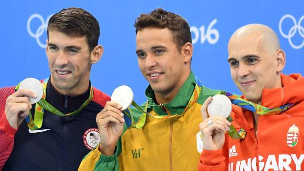 Phelps, Le Clos y Cseh comparten su plata en los 100 mariposa
