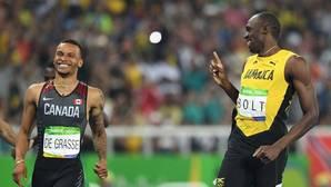 Bolt y De Grasse se parten de risa en plena semifinal de los 200