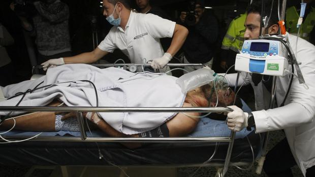 Alan Ruschel, a su llegada al Hospital de La Ceja