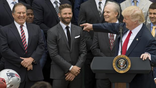 Trump, con la delegación de los Patriots