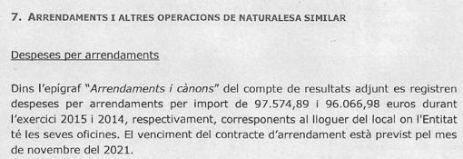 El alquiler anual de la oficina asciende a 97.574,89 euros