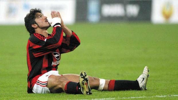 Gattuso, en un partido con el Milán