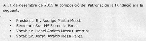 Todos los miembros del patronato pertenecen a la familia Messi